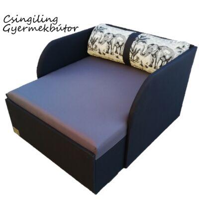 """""""WEXTRA"""" kollekció - RORI kárpitos fotelágy: Fekete - szürke - (fekete elefántos dizájn párnával kérhető)"""