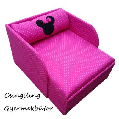 Rori Wextra ágyneműtartós kárpitos fotelágy: pink pöttyös Minnie