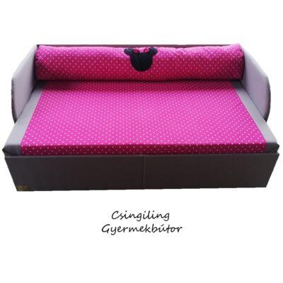 Rori Sunshine ágyneműtartós kihúzható kanapéágy: szürke pink pöttyös Minnie