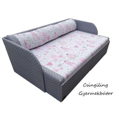 """""""SUNSHINE"""" kollekció - RORI kárpitos kanapéágy: Szürke pöttyös - Little Princess, vastagított oldaltámlákkal,  AJÁNDÉK dizájn párnával, puhított fekvőfelülettel, KÉSZLETRŐL,"""