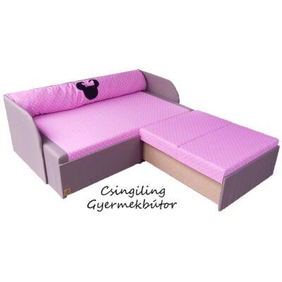 Rori Sunshine ágyneműtartós kihúzható kanapéágy: szürke rózsaszín pöttyös Minnie
