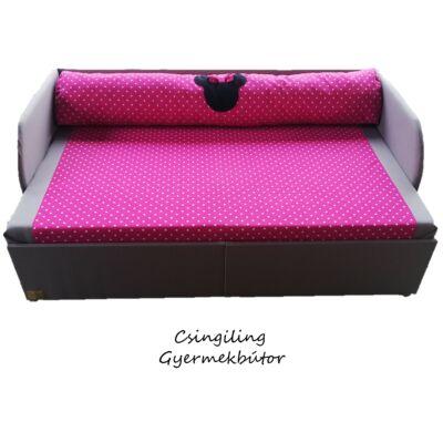 Rori Wextra ágyneműtartós kárpitos kanapéágy: szürke pink pöttyös Minnie