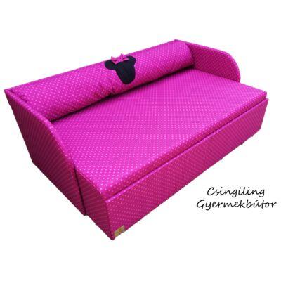 """""""WEXTRA"""" kollekció - RORI kárpitos kanapéágy: Pink pöttyös (Minnie fantázia dizájn párnával is kérhető)"""