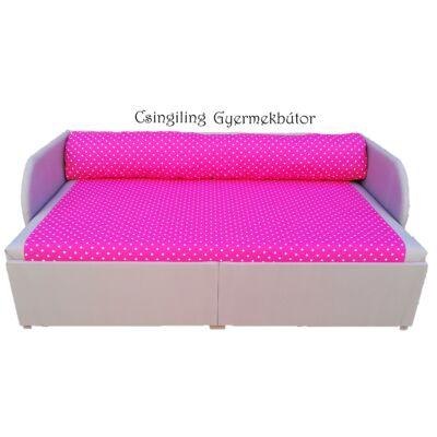 Rori Wextra ágyneműtartós kárpitos kanapéágy: szürke pink pöttyös