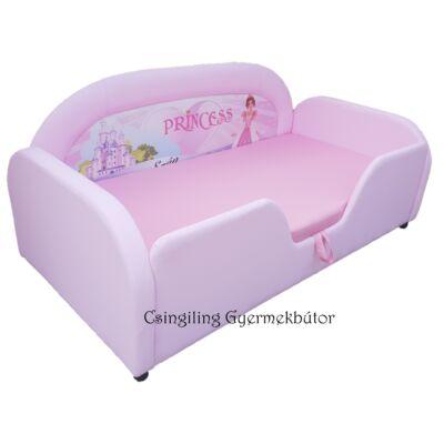 Sky Eco prémium eco bőr keretes ágyneműtartós gyerekágy: rózsaszín eco-bőr hercegnős puncs wextra
