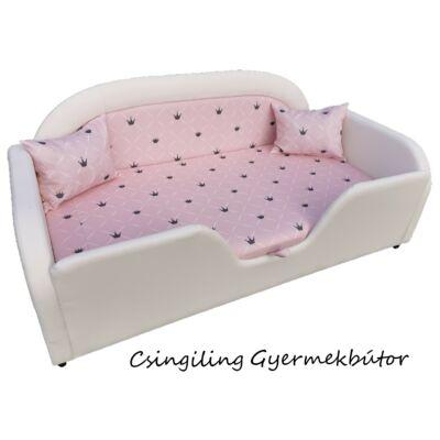 SKY ECO prémium gyerekágy 63x150 cm-es fekvőfelülettel: Fehér eco bőr keret- Diamond rózsaszín chesterfield fekvővel és betéttel