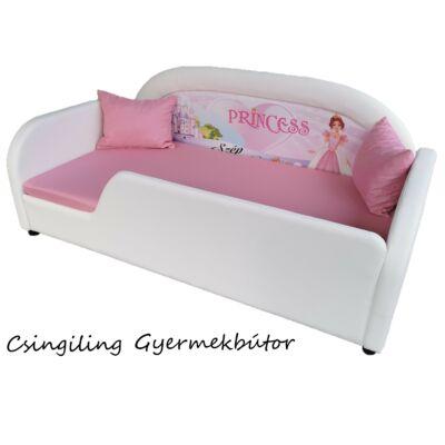 Sky Eco prémium eco bőr keretes ágyneműtartós gyerekágy: fehér eco bőr rózsaszín hercegnős puncs wextra