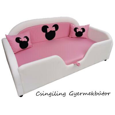Sky Eco prémium eco bőr keretes ágyneműtartós gyerekágy: fehér eco bőr keret, puncs rózsaszín wextra Minnie fekvő
