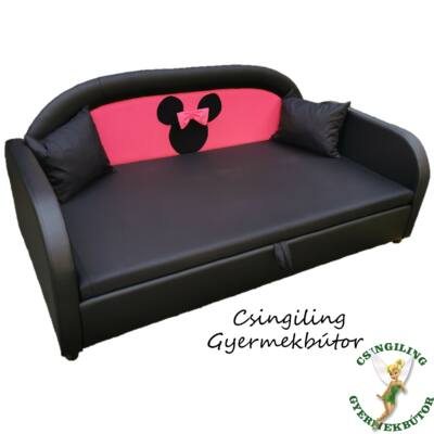 SKY ECO prémium gyerekágy 83x165 cm-es fekvőfelülettel: Fekete eco bőr keret- pink háttámla Minnie fantázia fejjel- fekete fekvőfelület