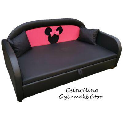 Sky Eco prémium eco bőr keretes ágyneműtartós gyerekágy: fekete eco bőr keret, pink Minnie háttámla