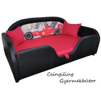Sky Eco prémium eco bőr keretes ágyneműtartós gyerekágy: fekete eco bőr keret, Furmula1 versenyautós háttámla, piros fekvő