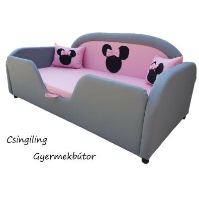 Sky Eco prémium eco bőr keretes ágyneműtartós gyerekágy: szürke eco bőr keret, puncs rózsaszín Minnie