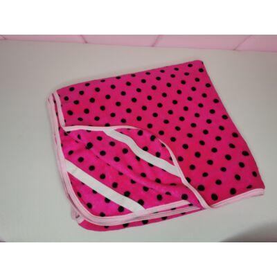 Wellsoft Ágytakaró/Derékalj: Pink alapon fekete pöttyös 83x165 cm-es