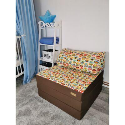Kihajtható szivacs fotelágy/pótágy felnőtt méretben: Csoki - színes nagy baglyos KÉSZLETRŐL!!!