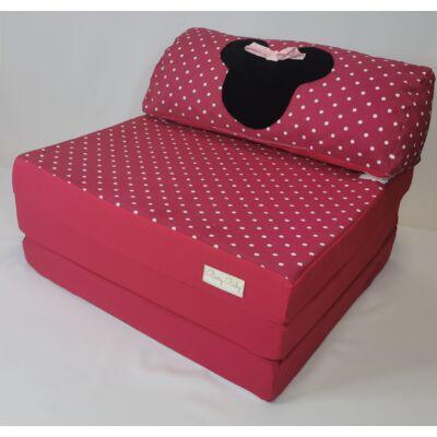 Kihajtható szivacs fotelágy ifjúsági méretben: Pink pöttyös Minnie fantázia KÉSZLETRŐL