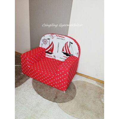 Berry Baby Babafotel - klasszikus (0-3 éves korig): Piros pöttyös vitorlás KÉSZLETRŐL!!!-bútorszövet