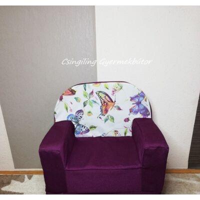 Berry Baby Babafotel - klasszikus (0-3 éves korig): Sötétlila - szitakötő pillangós KÉSZLETRŐL!!!-bútorszövet