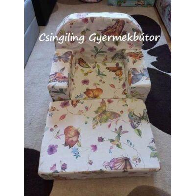 Berry Baby Babafotel - klasszikus (0-3 éves korig): Szitakötős-pillangós KIHAJTHATÓ - KÉSZLETRŐL!!!-bútorszövet
