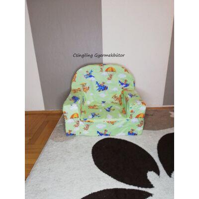 Berry Baby Babafotel - klasszikus (0-3 éves korig): Zöld alapon kék repülős KÉSZLETRŐL!!!-pamutvászon