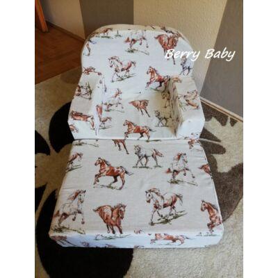 Berry Baby Babafotel - klasszikus (0-3 éves korig): KIHAJTHATÓ Barna lovas KÉSZLETRŐL!!!-bútorszövet